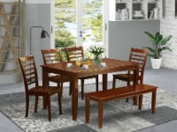 DUML6D-MAH-W 6 PC Dining room set with bench-Table and 4 Dining Chairs and Bench - 1