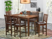 East West Furniture Dudley 7-piece Wood Dining Set with Stools in Mahogany - 1