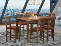 East West Furniture Dudley 7-piece Wood Dining Set with Bar Stools in Mahogany - 1