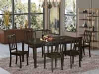 East West Furniture Henley 7-piece Wood Dining Room Table Set in Cappuccino - 1