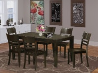 LYFD7-CAP-W 7 PC Dining set-Kitchen Tables with Leaf and 6 Dining Chairs - 1