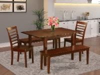 MILA5D-MAH-W 5 Pc small Table set-small Tables and 2 Chairs and 2 Benches - 1