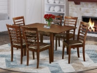 East West Furniture Milan 7-piece Wood Kitchen Table Set in Mahogany - 1
