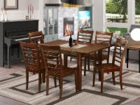 East West Furniture Milan 7-piece Traditional Wood Dinette Set in Mahogany - 1