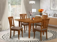 MLAV5-SBR-C 5 Pc dinette set for small spaces-Dining Tables and 4 Dining Chairs - 1