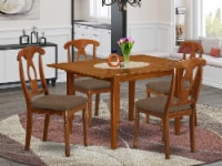 MLNA5-SBR-C 5 Pc Kitchen nook Dining set- Tables and 4 Brown Dining Chairs - 1