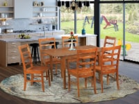 MLPF7-SBR-W 7 Pc dinette set for small spaces-Tables and 6 Chairs for Dining - 1