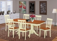 NAAN7-WHI-W 7 Pc Dining room set -Kitchen dinette Table and 6 Dining Chairs - 1