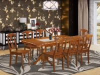 East West Furniture Napoleon 9-piece Wood Dining Room Set in Saddle Brown - 1
