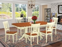 East West Furniture Napoleon 7-piece Wood Dining Table and Chairs in Cherry - 1