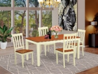 NIAN5-WHI-W 5 Pc dinette Table set -Table and 4 Dining Chairs - 1