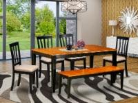 East West Furniture Nicoli 6-piece Wood Kitchen Set in Black/Cherry - 1