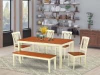 East West Furniture Nicoli 6-piece Wood Dining Room Set in Buttermilk/Cherry - 1