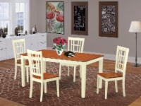 NICO5-WHI-W 5 Pc Dining room set-Table with Leaf 4 Chairs for Dining room - 1