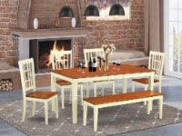 East West Furniture Nicoli 6-piece Wood Dining Set plus Bench in Cherry - 1
