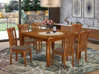 PFPO7-SBR-C 7 Pc Dining set-Square Dining Table with Leaf and 6 Dining Chairs - 1