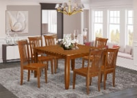 PFPO7-SBR-W 7 Pc Dining set-Table with Leaf and 6 Dinette Chairs - 1