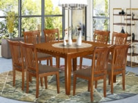 PFPO9-SBR-C 9 Pc Dining room set-Table with Leaf and 8 Kitchen Chairs. - 1