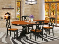 East West Furniture Plainville 5-piece Dining Set with Wood Seat in Black - 1