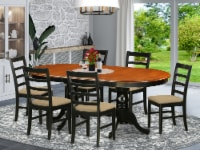 East West Furniture Plainville 7-piece Wood Kitchen Table Set in Black/Cherry - 1