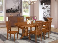 PLPO7-SBR-W 7 Pc Dining room set for 6-Dining Table and 6 Dining Chairs - 1