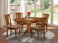 East West Furniture Portland 5-piece Wood Dining Set with Linen Seat in Brown - 1