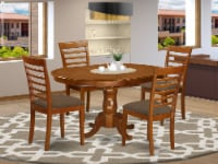 POML5-SBR-C 5 PC Dining room set for 4-Oval Dining Leaf with 4 Dining Chairs. - 1