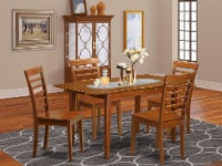 PSML5-SBR-W 5 PC dinette set for small spaces - Table and 4 Dining Chairs - 1