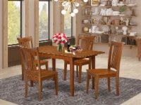 PSPO5-SBR-W 5 PC Kitchen Table set Table with Leaf and 4 Kitchen Chairs - 1