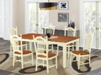 East West Furniture Quincy 7-piece Wood Kitchen Set in Buttermilk/Cherry - 1