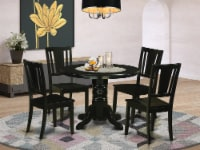 East West Furniture Shelton 5-piece Wood Dining Table and Chairs in Black - 1