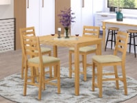 East West Furniture Yarmouth 5-piece Wood Counter Height Dining Set in Oak - 1