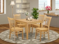 OXGR5-OAK-W 5 PC Kitchen Table set - Kitchen dinette Table and 4 Dining Chairs - 1