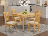 OXVA5-OAK-C 5 PC Table and Chairs set - Kitchen Table and 4 Dining Chairs - 1