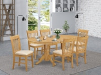 East West Furniture Vancouver 7-piece Wood Dinette Set in Oak - 1