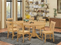 VANO7-OAK-W 7 Pc Table and Chairs set - Kitchen Table and 6 Dining Chairs - 1