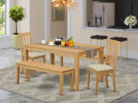 5 Pc Dining room set for 4 - Table and 2 Dining Chairs plus 2 benches - 1