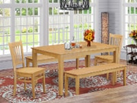 CAGR5C-OAK-W 5Pc Rectangle 60 Inch Table And 2 Wood Seat Chairs Plus 2 Bench - 1