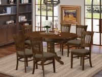 KEVA7-ESP-C 7 Pc set Kenley with a 18  Leaf and 6 Cushion Dinette Chairs - 1