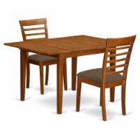 East West Furniture Milan 3-piece Dining Set with Cushion Seat in Saddle Brown - 1