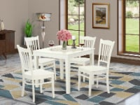 OXGR5-LWH-W 5 PC Kitchen Table and 4 Wood Dining Chairs in Linen White - 1