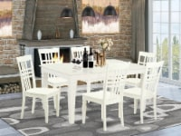WELG7-LWH-W 7 Pc Kitchen Table and 6 Wood Chairs for Dining in Linen White - 1