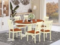 East West Furniture Avon 7-piece Wood Dining Table and Chair Set in Cherry - 1
