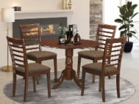 DLML5-MAH-C 5 PC Kitchen Table set-Dining Table and 4 Linen Kitchen Chairs - 1