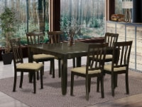 East West Furniture Parfait 7-piece Dining Set with Cushion Seat in Cappuccino - 1