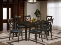 CABO7S-CAP-LC 7 PC Dining room set for 6-Table and 6 Dining Chairs with Leather - 1