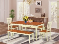 NIAN5N-WHI-W 5 Pc Dining set with bench-Kitchen Tables and 2 Chairs Plus 2 bench - 1