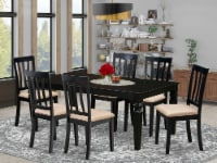 LGAN7-BLK-C 7 Pc Dining set with a Dining Table and 6 Linen Chairs in Black - 1