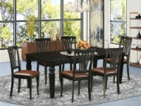 LGAV7-BLK-LC 7 Pc Dining set with a Dining Table and 6 Leather Chairs in Black - 1