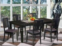 7 Pc Dining Room Set With A Dining Table & 6 Leather Kitchen Chairs In Black - 1